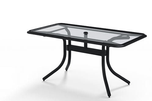 "32""x60"" Glass Top Table w/umb Hole"