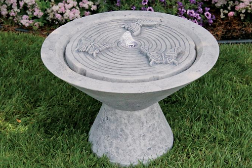 Funneled Fountain with Butterflies on Pedestal