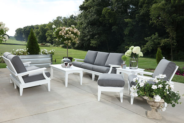 Heritage Deep Seating Set-White wCharcoa