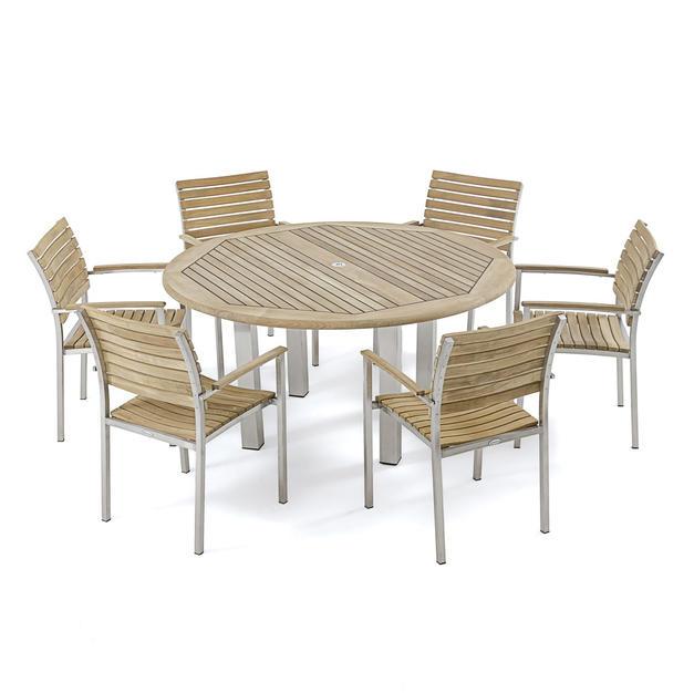 7 Piece Teak/Stainless Steel Dining Set