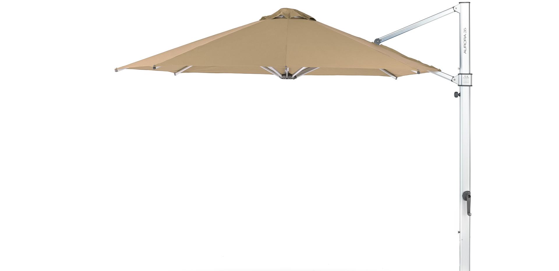 "11"" Auroa Octogan shown with Toast Sunbrella Fabric and Matte Silver frame."