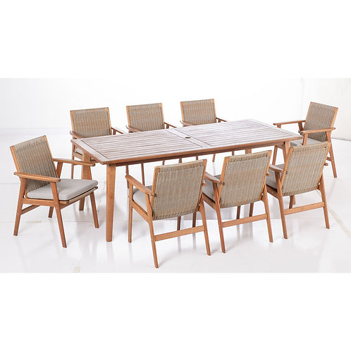 9pc Wicker Dining Set