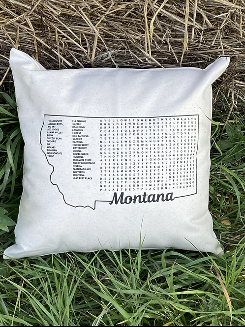 Montana Word Search 16X16 pillow cover