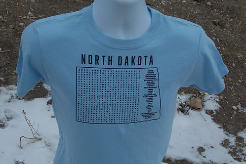 North Dakota Word Search Youth T-shirt with Stanley in the Word Search