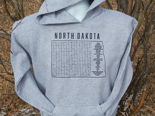 North Dakota Word Search Youth Hoodie with Stanley in the Word Search