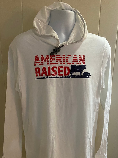 American Raised long sleeve hooded T-shirt
