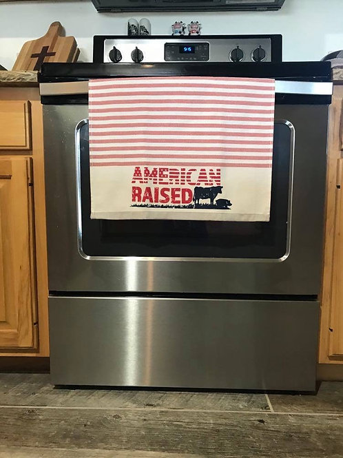 American Raised  Dual Sided Terry Kitchen Towel -
