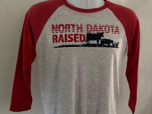 3/4 Sleeve North Dakota Raised T-shirt