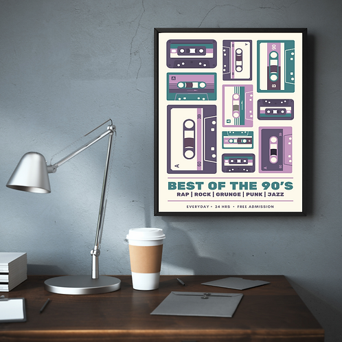 Old School Music Posters  (High quality print + Frame)
