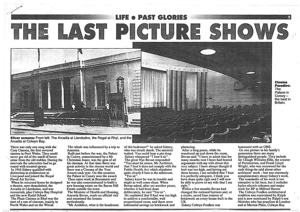 Sidney Colwyn Foulkes, cinema designer in Colwyn Bay. Page 2.