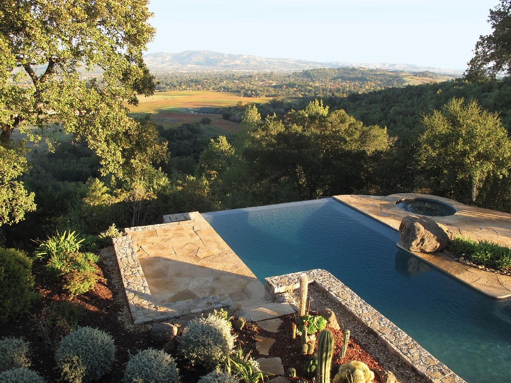 Above: A swimming pool at a Napa Hills estate, by Scott Lewis Landscape Architecture.