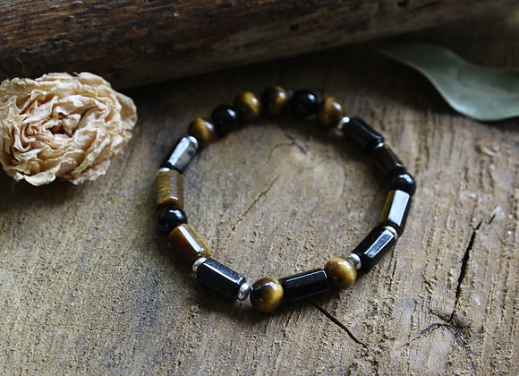 """Bracelet """"Atlante"""" en Oeil de tigre et Tourmaline noire"""
