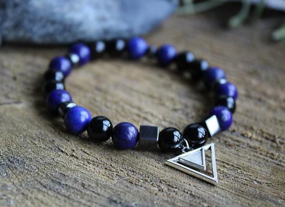 Bracelet Puissance en Lapis Lazuli et Tourmaline noire