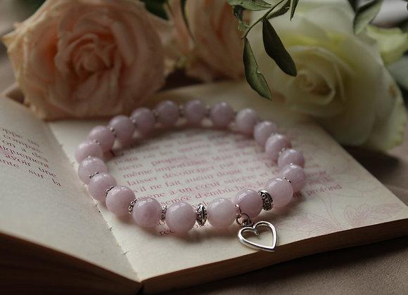 """Bracelet """" Cœur"""" en Kunzite"""