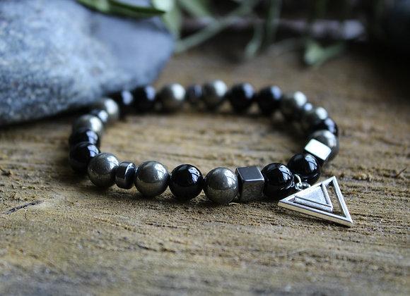 Bracelet Puissance en Pyrite et Tourmaline noire