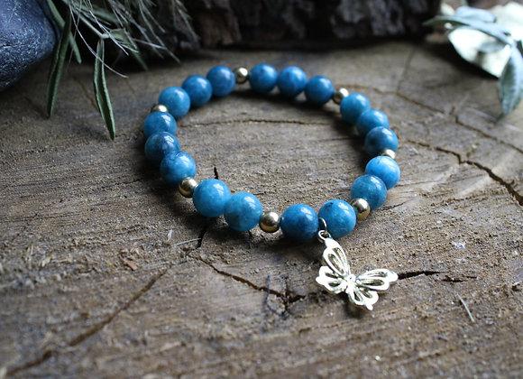 """Bracelet """"Papillon"""" en Apatite bleue"""