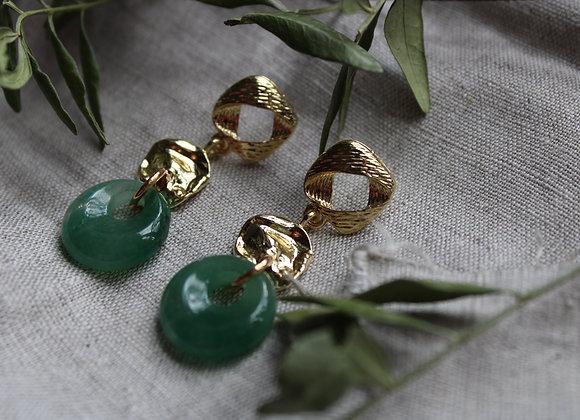 """Boucles d'oreilles """"Gaïa"""" en Jade"""