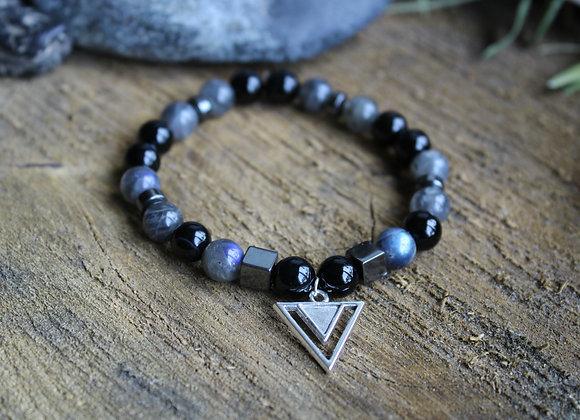 Bracelet Puissance en Labradorite et Tourmaline noire
