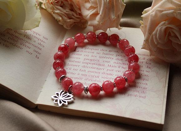 "Bracelet ""Lotus"" en Rhodochrosite"