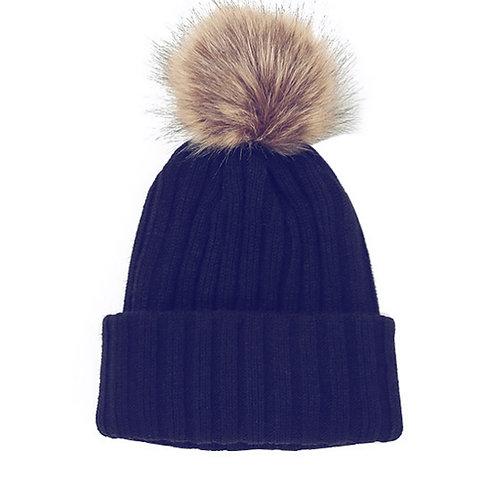 Knitted Faux Fur Pom Beanie