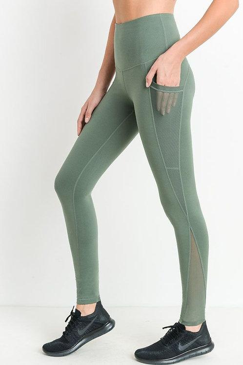 Green Mono B Splice Mesh Pocket Legging