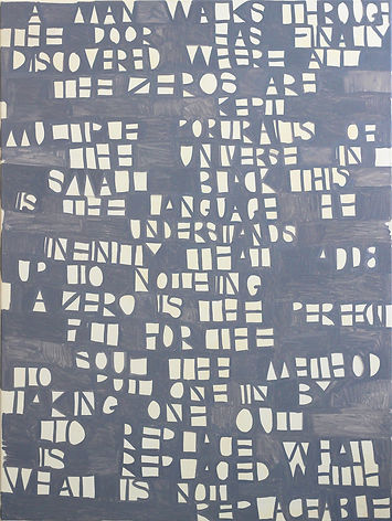 text painting arryn snowball 2017 nathan shepherdson a man walks through the door