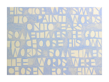 blue poem painting by arryn snowball | his job was simply to paint words ono years | text by nathn shpherdson