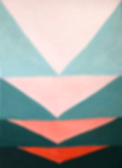 arryn snowball; slRed tipped is sea green is flushed pink; abstract painting
