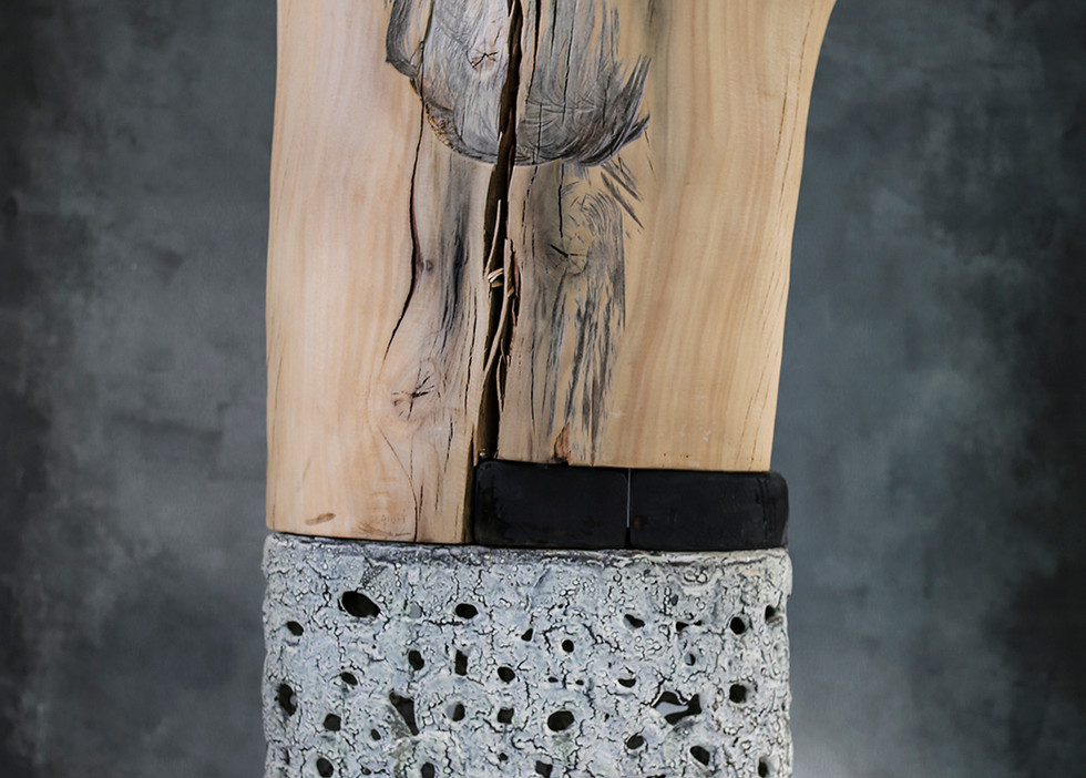 """Horizon"" by Brandon Reese, sycamore and salt glazed ceramic"