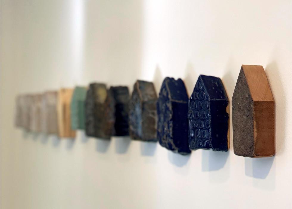 """Community Houses"" by Brandon Reesea, assorted salt glazed ceramic"