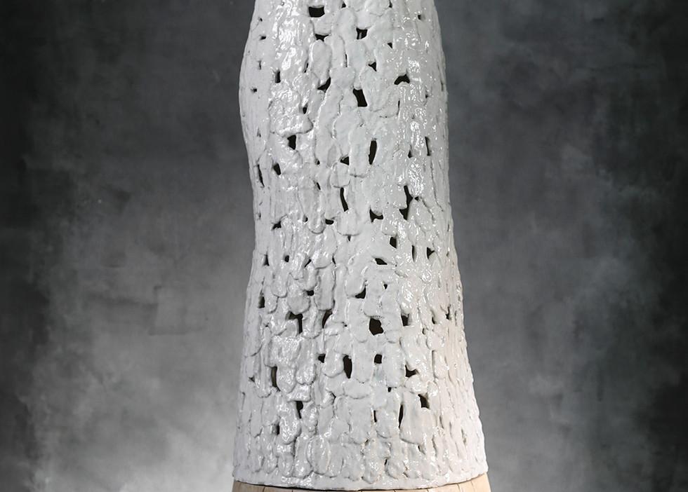 Ceramic Dress, hand-made, salt glazed ceramic and wood