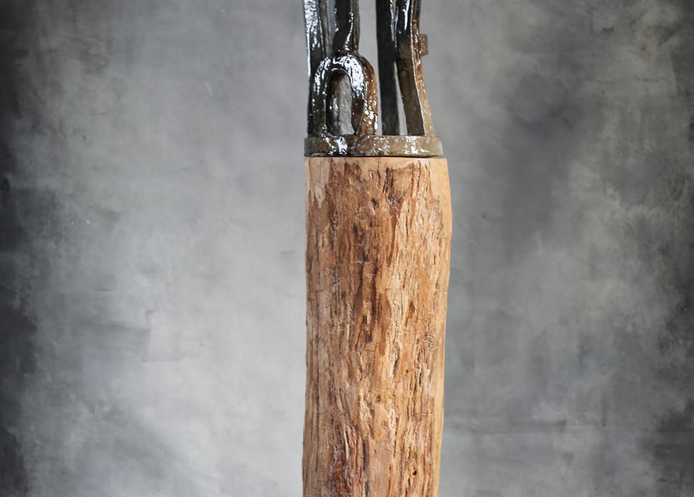 """Breck"" by Brandon Reese, 59""h, salt glazed ceramic and wood"