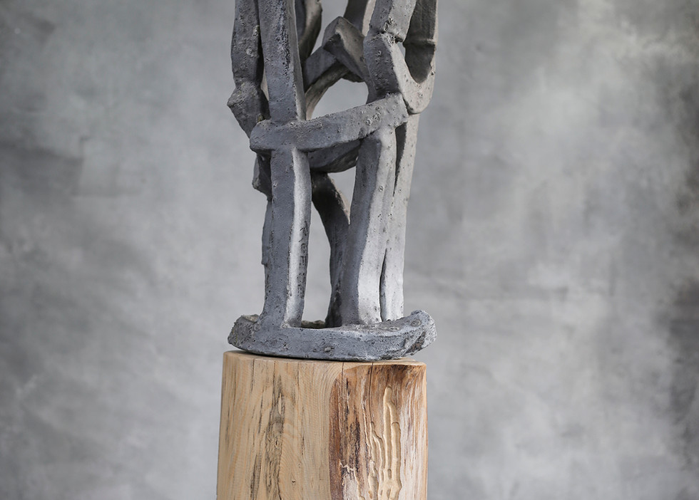 """Twister"" by Brandon Reese, salt glazed ceramic and wood"