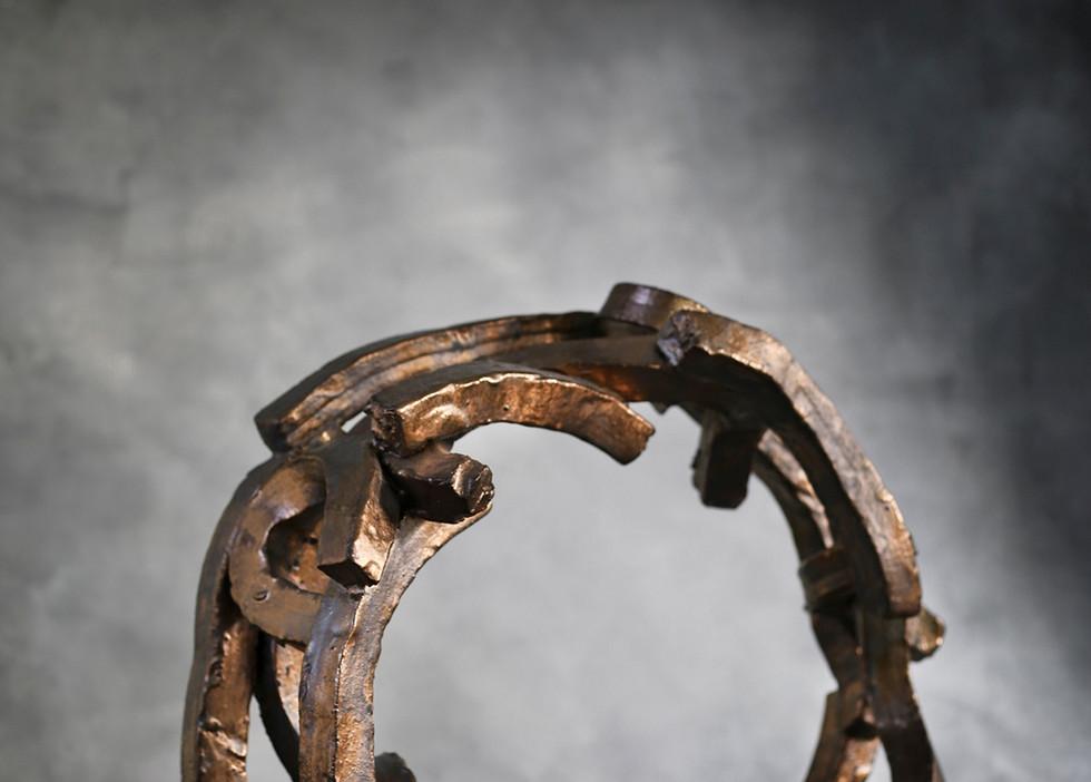 "Bronze Hoop, salt glazed ceramic, 24"" diameter"