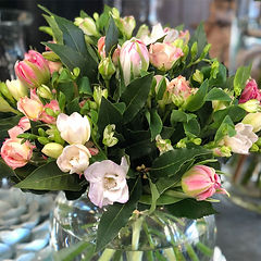 Grandiflora posy in vase pastel colours