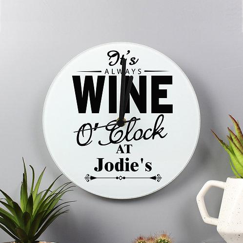 Personalised 'Wine O'Clock' Clock Glass
