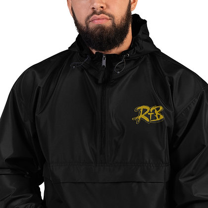 Black and Gold Embroidered Champion Packable Jacket