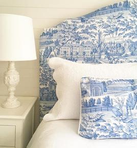 Bedhead, valance, cushions & lampshades
