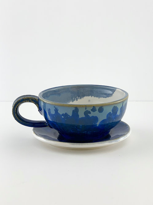 Cappuccino Mug & Saucer - Navy Crystalline