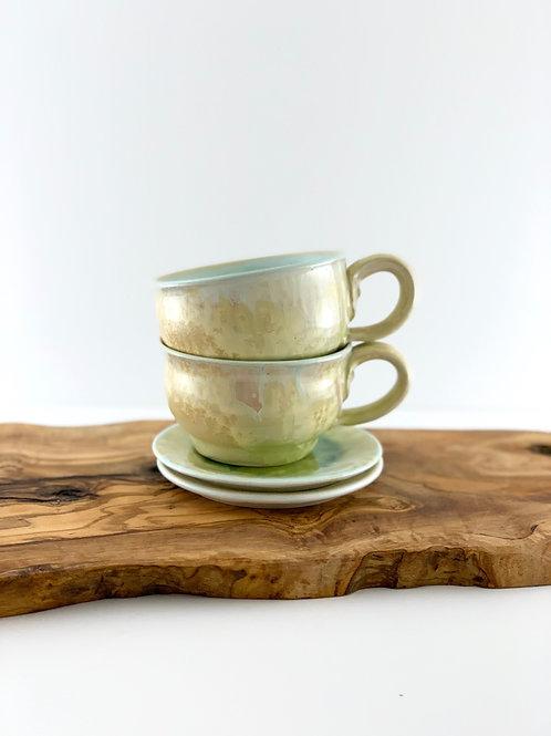 Cappuccino Mug & Saucer - Rutile Crystalline