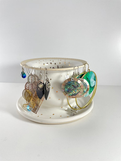 Earring Tree - White & Gold Luster