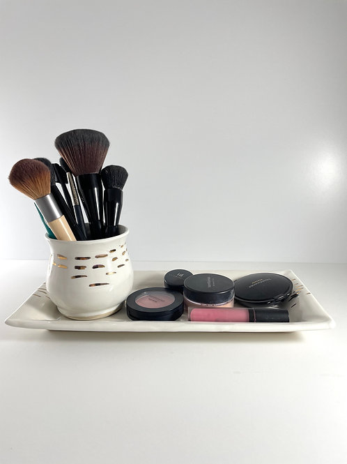 Make Up Tray - White & Gold Luster