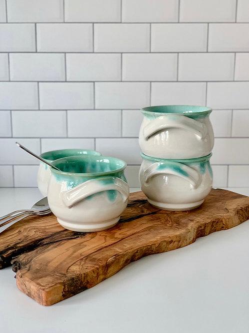 Soup Crock - White & Emerald