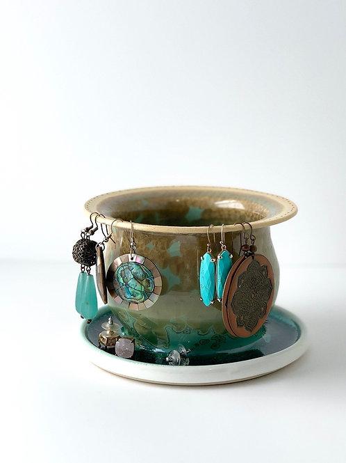 Earring Tree - Copper Green Crystalline