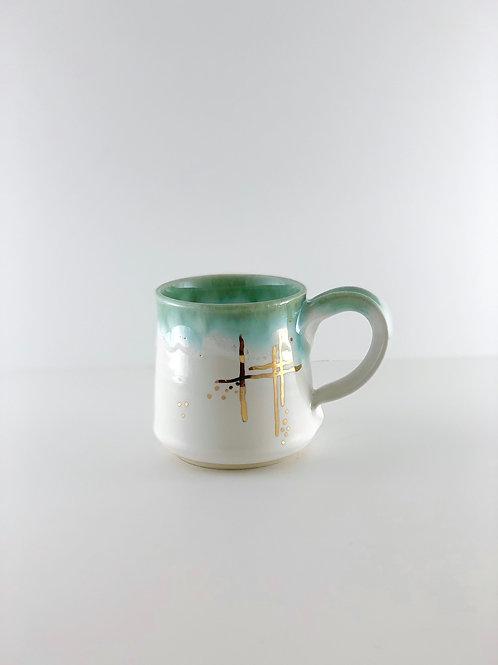Mug - Straight White, Emerald & Gold