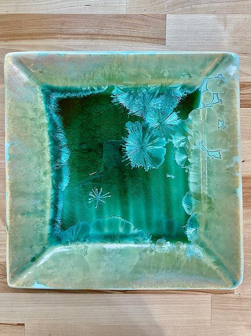 Square Serving Plate - Copper Green