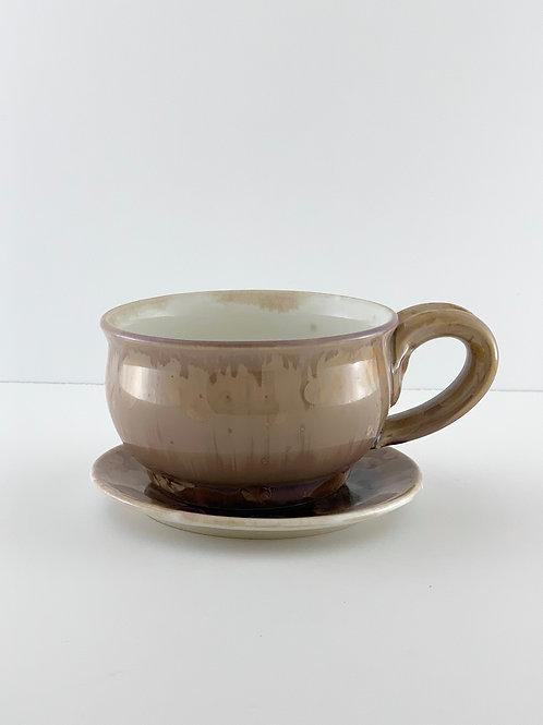 Cappuccino Mug & Saucer - Mocha Crystalline