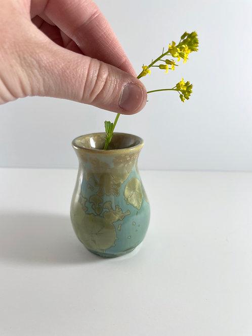 Bud Vase - Copper Green Crystalline