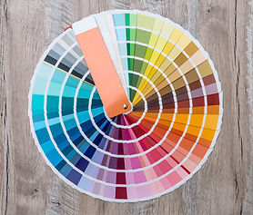 Colour swatch on wooden background lay o