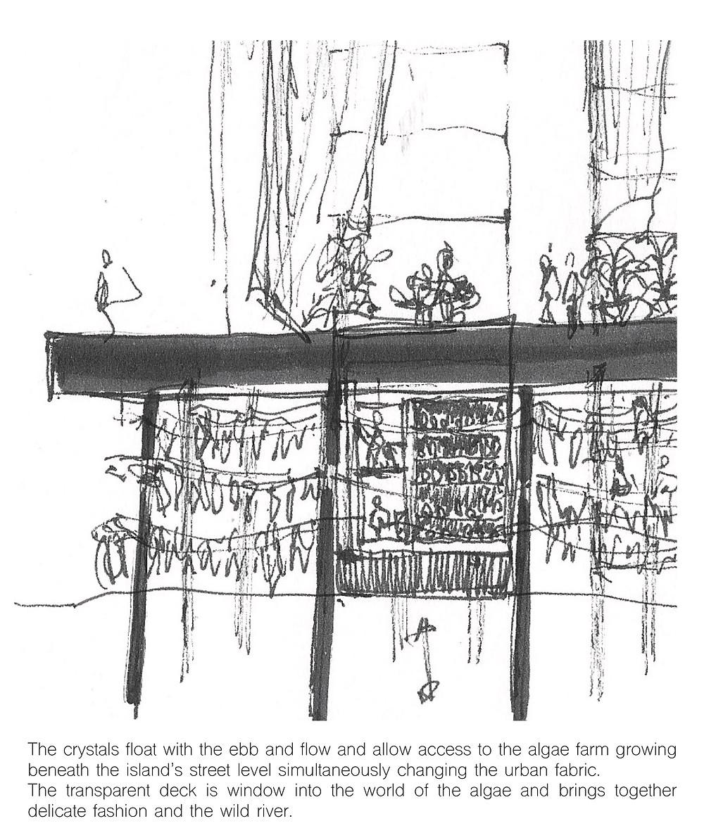Concept sketch: tidal algae farm